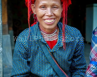 Vietnam Photography, Red Dao Woman in Red Kerchief, Asian Woman, Travel Photography, Fine Art Photography, Vertical Wall Art Print