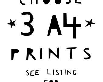 Set Of 3 Prints Mix and Match Wall Art Nursery Wall Art Home Decor Wall Prints Set Of Prints Set Of Wall Art Nursery Decor