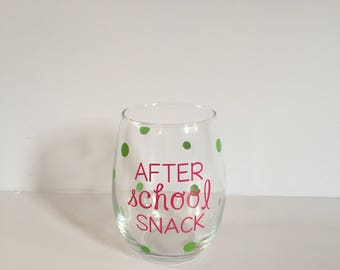 After School Snack Wine Glass, Stemless Teacher Wine Glasses, Teacher Gift, Stemless Wine Glass,