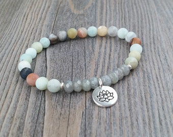 ON SALE!!!hand made ring amazonite, labradorite stones with lotus flower charms Tierracast, meditation, OM yoga