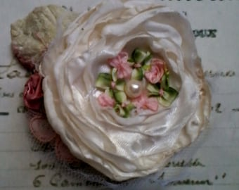 shabby vintage style brooch,  layered silk and tulle flower brooch, cream and pink rose brooch,