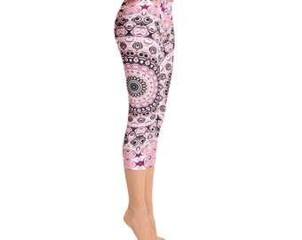 Printed Capri Leggings Pants - Mid Rise Yoga Leggings, Mandala Leggings in Pink and Black, Yoga Pants Women's Clothing