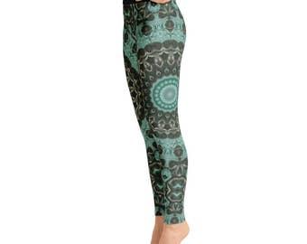 Leggings Yoga Green - Emerald Mandala Art Yoga Tights, Printed Yoga Pants, Green Leggings, Fashion Leggings, Womens Stretch Pants