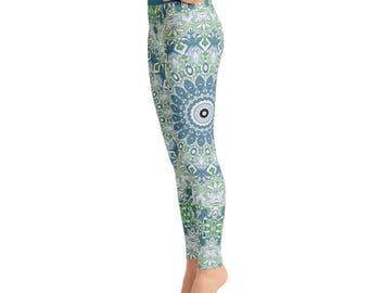 High Waist Blue and Green Mandala Yoga Pants - Womens Printed Leggings, Stretchy Yoga Pants, Fashion Leggings