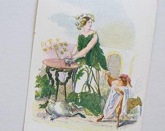 Antique Anthropomorphic Fantasy Postcard - Les Fleurs Animees - Victorian Botanical Print