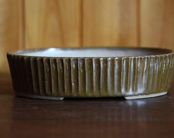 Shallow brown ridged bonsai pot
