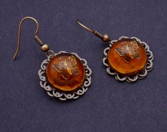 Butterfly earrings, amber like resin, steampunk earrings, bronze earrings