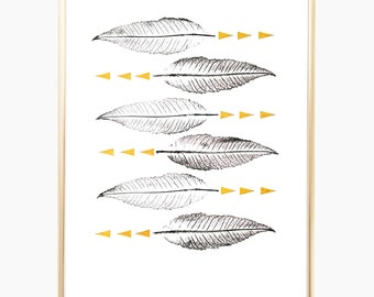 "Leaf Art Print, Nature Print, Botanical Print, Minimalist Art, Geometric Art, Leaves Print, Wall Decor, Gold Print, Plant Print, 9"" x 12"""