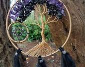 "6"" Tree Of Life Dream Catcher/Wall Hanging/Gold/Amethyst/Black Tourmaline/Swarovski"