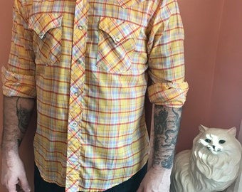 80s Western Shirt, Yellow Cowboy, Snap Button Down (B446)