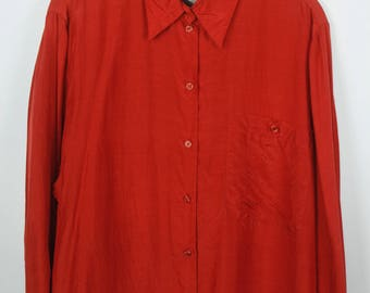 Vintage shirt, 80s clothing, shirt 80s, silk, long sleeves, oversized