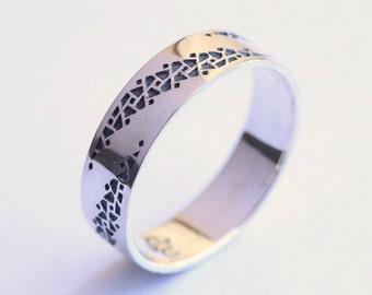 Oxidized Silver Men's Wedding Band, Promise Rings For Men, Promise Ring Men's Silver Wedding Band, Men's Wedding Ring, Textured Wedding Ring
