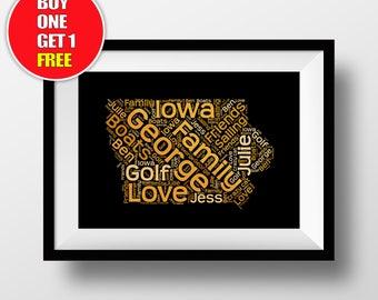 Iowa artwork,  Iowa present, Iowa, Iowa word art