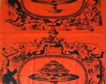 "Rare mid century Martex Dry-Me-Dry tea towel ""Bon Appetit"" with amazing graphics cherubs tarts fish pheasant fruit eggs cheese wine, more!"