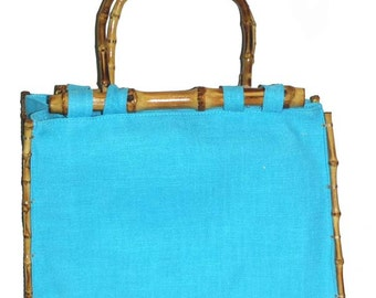 Hemp tote with bamboo handle and trims