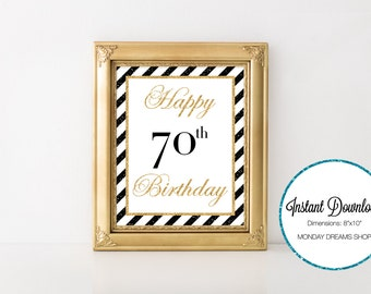 Seventy Glittered Black and Gold-A 037 Happy 70th Birthday Party Sign, Seventy Wall Art, Party Decoration, 70th Birthday