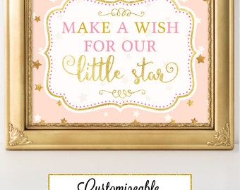 Twinkle Little Star Make a Wish Party Sign Printable Twinkle Little Star Baby Shower Twinkle Little Star Decor FBRS010