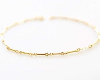 Gold Fill Modern Bar Chain Bracelet, Simple Stylish Gold Fill Chain Bracelet, Small Dainty Bar Chain Bracelet, Gold Fill Chain Bracelet