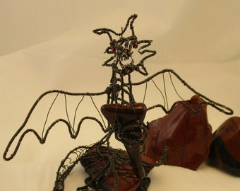 Dragon Wire Sculpture Desk Ornament, Mahogany Obsidian, Red Garnet