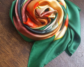 ASILK 100% silk OVERSIZED - LARGE silk scarf in yellow, orange, green and olive - abstract,splash design