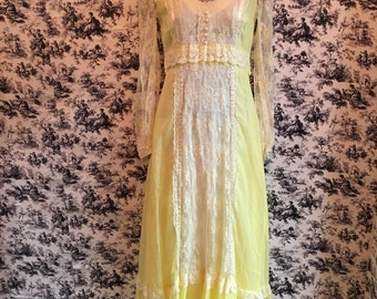 Vintage Muslin, Lace,ruffles, yellow , Maxi, Hippie dress, prairie dress. (1970s)(1960s) extra small size. FREE SHIPPING