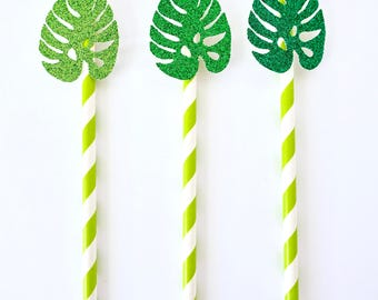 Monstera Leaf Paper Straws - Set of 12 - Tropical Party