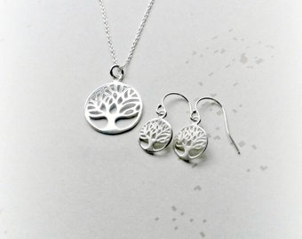Sterling Silver Tree of Life Jewellery Set Silver Earrings Tree of Life Pendant Gifts for Her
