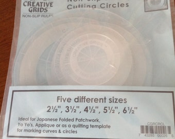 Circle rulers, non-slip rulers, quilting rulers, quilting notions, Yo Yo rulers, patchwork rulers,  quilting aids, cutting circles