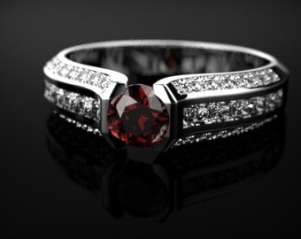 Sterling Silver Garnet Ring Garnet Engagement Ring Red Gemstone Engagement Ring Silver Garnet Ring January Birthstone