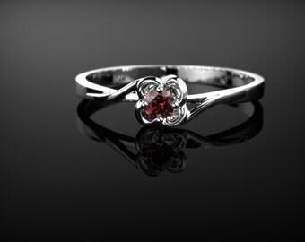 White Gold Garnet Engagement Ring Garnet Engagement Ring Red Gemstone Engagement Ring White Gold Garnet Ring January Birthstone