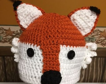 Fox Hat/Crocheted Hat/Handmade hat for boys or girls/Beanie Hat/Winter Crocheted Hat
