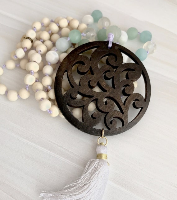 Carved Bali wood pendant, jade and cats eye mala, tassel necklace, statement, taslisman