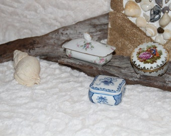 set of 3 box porcelain _ box _ jewelry