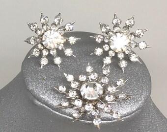 Sparkling Stars rhinestones earrings and brooch