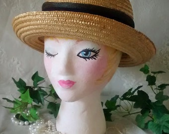 Vintage Ladies Straw Derby or Bowler Hat Made in Italy