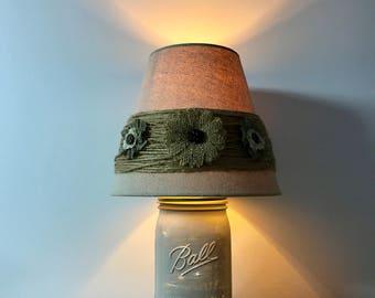 Rustic Mason Jar light, wide mouth ball jar, rustic flower light, night light, rustic decor, decorative lamp, rustic, night light