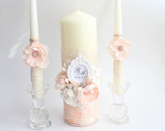Peach Unity Candle Set with flowers,Church Wedding Unity Candles, Lace Unity Candle Set mint,Roses pillar candles, rustic chic,peach wedding