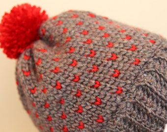 """Grey and red """"little heart"""" hat - adult ladies size - handmade crochet item"""