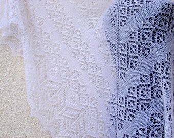 Knitted Shawl, lace Shawl, milk white Shawl, knit shawl, Wedding shawl womens gift, Knitted wool  Wrap, Shawl, bridal knit