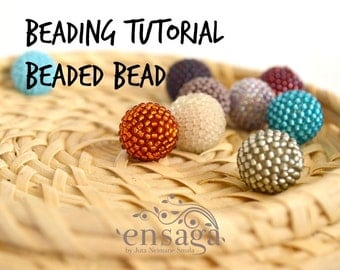 Beaded Bead Tutorial, Beaded Bead Pattern, DIY earrings, PDF file download, PDF instant tutorial, Beading instructions, pdf tutorial, Gift