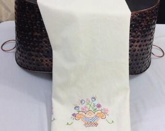 Embroidered Pillowcase, Vintage Pillowcase, Cottage Decor, Hand Crochet Edge, Vintage Linens, Pillow Slip, Pillow Cover, Flower Baskets