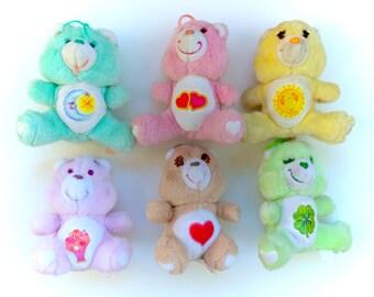 Vintage Care Bears Lot Small Mini Plush Plushies 1983 Bedtime Funshine Sunshine Love A Lot Good Luck 80s Original Kawaii Fairy Kei Stuffed