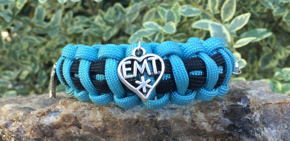 EMT Paracord Bracelet, EMT medical themed, charmed with the well known medical symbol