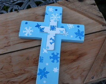 Wooden Cross, Snowflakes, Blue Cross, White Cross, Winter Cross, Winter Decor, Handmade cross, Winter wall decor, Painted snowflakes