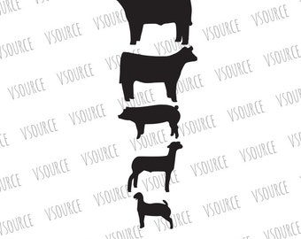Show Animal Bundle SVG - Show Pig SVG - Show Cattle - Show Steer - Show Heifer - Show Goat - Farm Animals SVG Clipart- 4H Ffa Show Animals
