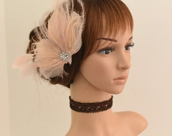Wedding Fascinator, Bridal Hair Comb,Wedding Hair Comb,Feather Flower Comb Fascinator 421 (Peach)