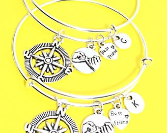 Friends forever charm bracelet, best friend bangle, infinity bangle, friendship bracelet, silver friend jewelry, gift for best friend, bff