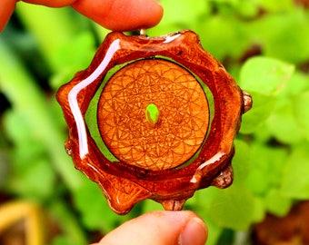 Sacred Geo + Fire Opal Pinecone Pendant // Pinecone Necklace // Sacred Geometry Pendant // Fire Opal Pendant // Heady Pendant // Festival