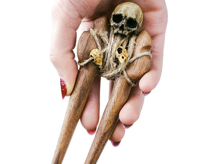 Hairpin - wooden hairpin - skull hairpin - wooden hair stick - wooden hair fork - hair accesories - hair fork - handmade hairpin