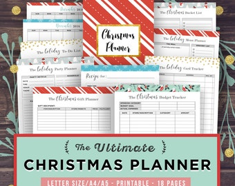 Christmas Planner Kit Printable, Holiday Planner, Gift Planner, Party Planner, Organizer, Budget Tracker, Thanksgiving Planner, X-mas Cards